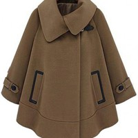 Lapel Neck Wool Cape Coat$109.00