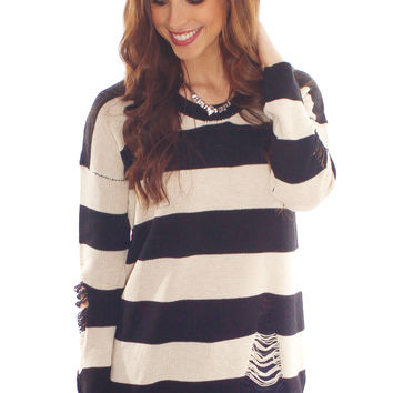 if these stripes could talk sweater - black