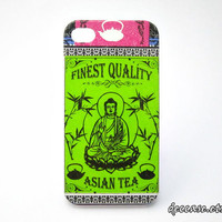IPHONE 4 CASE - Buddha Asia Tea Label