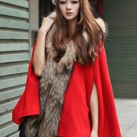 Racoon Fur Collar Wool Cape Coat Red$199.00