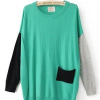 Color Block Round Neck Green Sweater$46.00