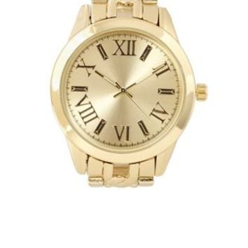 Oversized Chain Link Golden Watch by Charlotte Russe - Gold