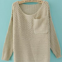Round Neck Beige Sweater with Pocket$45.00