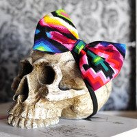 Colorful Hair Bow- Rainbow Bright Bold Neon Multi color- Aztec Native  Rockabilly pinup Retro Vintage Mexican