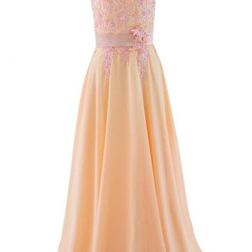 Kamilione Women's Chiffon Lace Applique Sweetheart Long Bridesmaid Prom Dress