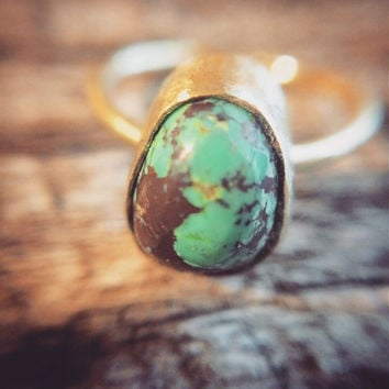 BISBEE TURQUOISE & BRASS ring