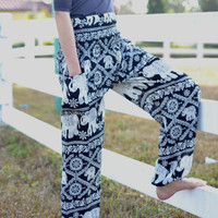 elephant pants nightwear baggy pants/lanna art design/bohemin style/womens thai pant/Yoga pants/palazzo pants/Harem pants/boho pants/pyjamas