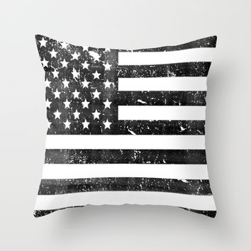 Dirty Vintage Black and White American Flag Throw Pillow