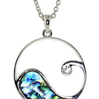 Ocean Wave Pendent with Abalone Shell and Crystal Necklace