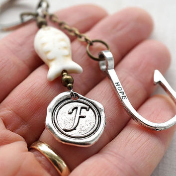 Monogram Keychain, Initial Keychain, Personalized Keychain, Hooked on you, Gone Fishing, Wax Seal,…