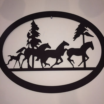 Oval horse metal sign Customize