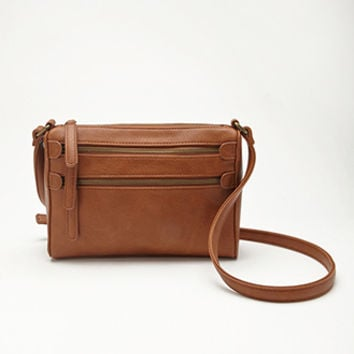 Zippered Faux Leather Crossbody
