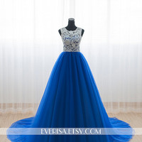 Custom Elegant White Lace High neck Royal blue Tulle A Line Lace Formal Long Evening Prom Dress Party Bridesmaid homecoming Ball gown