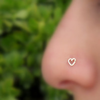 Valentine Heart Nose Ring  Stud 14K Rose Gold Filled Handcrafted Heart Shape