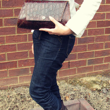 brown leather envelope clutch-brown Leather clutch-envelope clutch-Woman's Handmade leather purse -leather purse-cowhide (NL72CC1018)