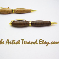 Large Grip Wood Pen - Black Walnut Designer style wooden pen - 24kt Gold Metal Finish