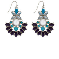 Blue Gem Chandelier Earrings