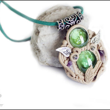 FREE SHIPPING, Fantasy jewelry, fantasy pendant, green pendant, amethyst necklace, fantasy necklace, woodland necklace, spiritual lewelry