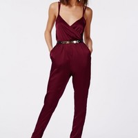 Missguided - Maureen Silky Feel Strappy Wrap Jumpsuit Oxblood
