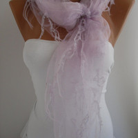 Lilac Soft tulle fringed Shawl / Scarf - Headband -seamless fabric