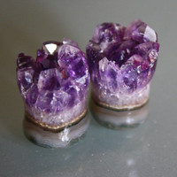 1/2&quot; Amethyst Druzy Plugs