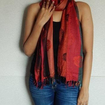 Striped Pashmina Scarf, Indian Scarf, Winter Scarf, Floral scarf