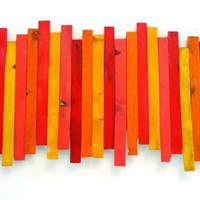 Wall Sculpture in Red Orange Yellow Melon by artbyrosemary