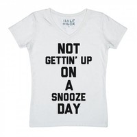 Not Gettin' Up on a Snooze Day-Unisex Snow T-Shirt
