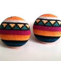 Tribal Stripes Small Button Earring.. on Luulla