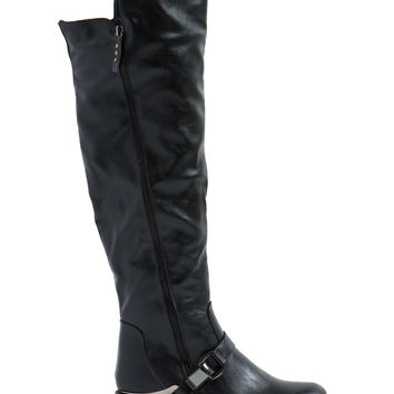 Single Hinge Faux Leather Boots