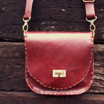 Woman's Lifetime Fully Handmade Leather Purse, niceleather, dark red leather, leather bag, handmade shoulder bag, cowhide (NL72SHC1002)