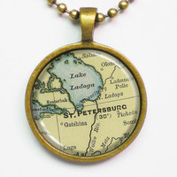 Vintage Map Necklace - St. Petersburg, Russia -Vintage Map Series