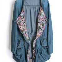 Floral Denim Laple Trench Coat  S001690