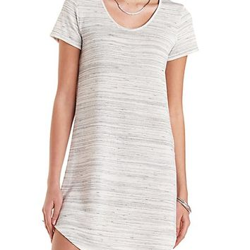 Marled French Terry Sweatshirt Dress by Charlotte Russe - Ivory Combo