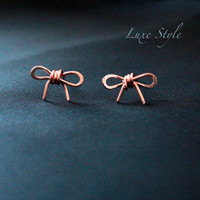 Bow Ear Rings Copper Metal Jewelry Wire Stud Ear Rings Every day Wear Handmade Modern Luxe Style