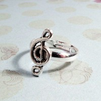 Musical Note Charm Ring, Music Treble Clef Piano Novelty