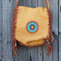 Beaded leather handbag Leather crossbody purse Beaded sunflower Buckskin shoulder bag Possibles bag
