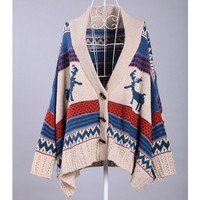 Cape-Style Hot Sale Cardigan Sweater Deer Print @T639