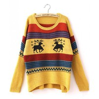 Yellow Deer Pattern Vintage Loose Sweater Bat Sleeve Coat @TBHTK001y