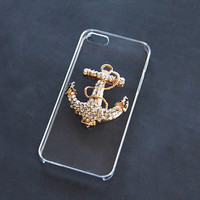 Anchor Cases iPhone 6 5s 5c iPhone 4 4s Gold Anchor Galaxy S5 S4 S3 Anchor Gold Crystal Bling Case Handmade Customized Personalized Case