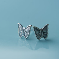 Butterfly Earring Studs in Antiqued Silver, Stainless Steel Posts