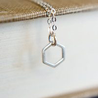 Simple Hexagon Necklace in Sterling Silver