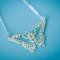 Laser Cut Butterfly Necklace in Sterling Silver