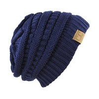 Trendy Warm Chunky Soft Stretch Cable Knit Slouchy Beanie Skully HAT20A,One Size,Navy