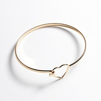 LC Lauren Conrad Gold Tone Heart Bangle Bracelet