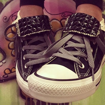 Black Studded Custom Converse High Tops - Chuck Taylors - ALL SIZES & COLORS!!!!