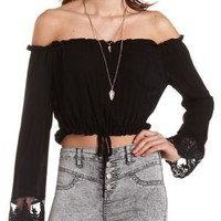 Off-the-Shoulder Ruffle Crop Top by Charlotte Russe - Black