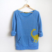 Yellow Dino HAND STENCILED Deep Scoop Neck Heather Artist Series Sweatshirt in Blue - S M L XL