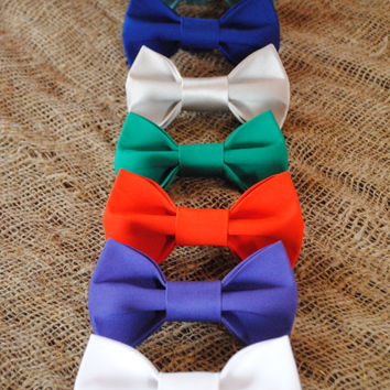 Set of 7 men's bowties White Mint Turquois Violet Electric blue Red orange Grey Green pretied bow tie Bowties for wedding party Boys bowties