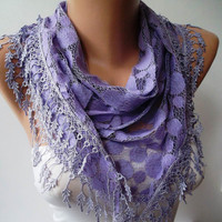 Lilac Scarf - Polka Dots Patterned Tulle Scarf with Lilac Trim Edge